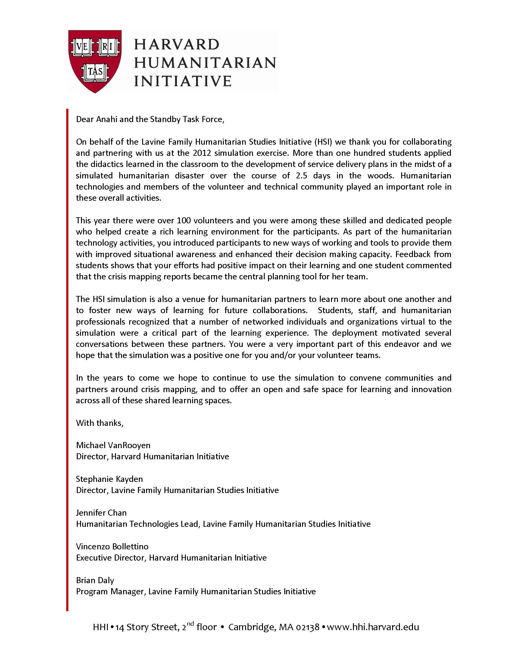 harvard cover letter sample