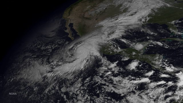 Satellite image of a storm seen from space